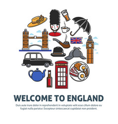 welcome to england promo banner with national vector image