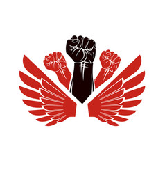 Winged clenched fists of angry people emblem vector