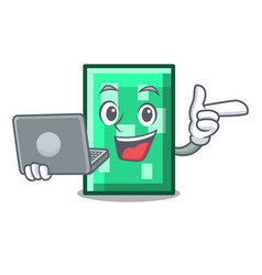 with laptop rectangle character cartoon style vector image
