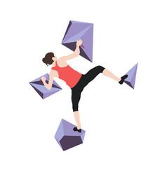 Woman climbs climbing wall vector
