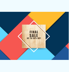 wood banner with square frame and colorful vector image