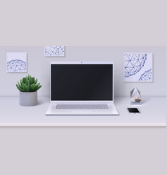 workspace realistic desktop with modern devices vector image