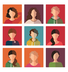 Young girls avatar icons set vector