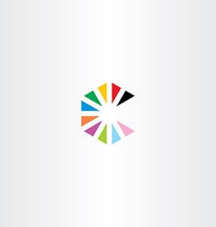 colorful letter c with triangles logo vector image vector image