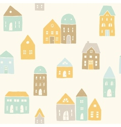 Cute houses pattern vector image
