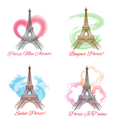 eiffel tower signs on white background vector image