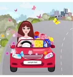 Gifting Girl Convertible vector image vector image