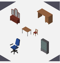 Isometric design set of chair table office and vector