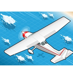 Isometric White Plane in Flight in Rear View vector image