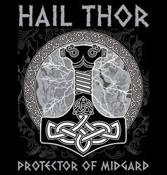 thor s hammer - mjollnir against the backdrop of vector image