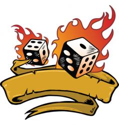 flaming dice banner vector image