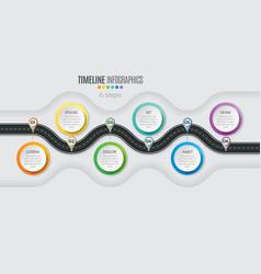 navigation map infographic 6 steps timeline vector image vector image