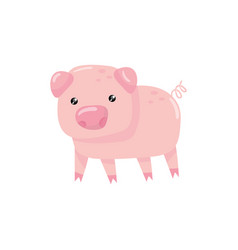 pink little pig with swirling tail farm livestock vector image vector image