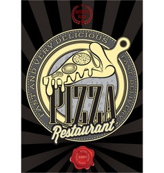 poster with the emblem pizza and an inscription vector image