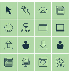 set of 16 web icons includes website page blog vector image vector image