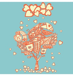 stylized psychedelic tree under the hearts rain vector image