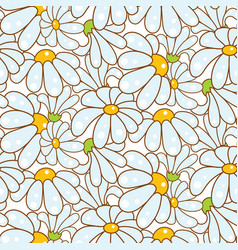 chamomile light blue seamless pattern vector image vector image