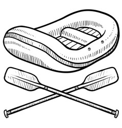 doodle rafting logo vector image vector image