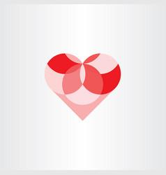 heart geometric circles element design vector image vector image
