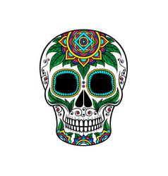 Mexican sugar skull with floral ornament dia de vector