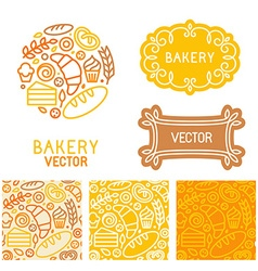 set of logo design elements with icons vector image