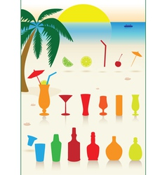 tropical drinks set vector image vector image