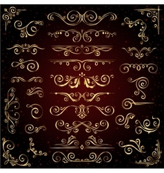 Victorian set of golden ornate page decor vector image vector image