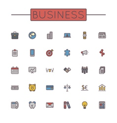 Colored Business Line Icons vector image