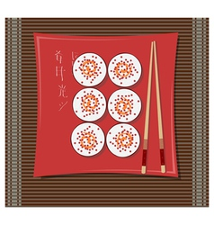 sushi on a plate vector image