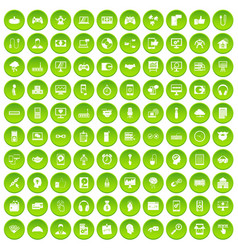 100 programmer icons set green circle vector image