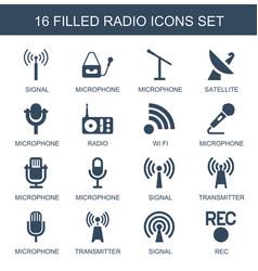 16 radio icons vector image