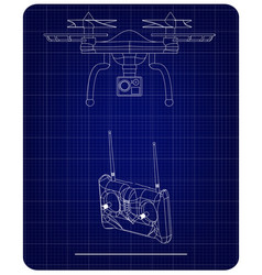 3d model of quadcopter and radio remote control vector image