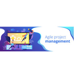 Agile project management concept banner header vector