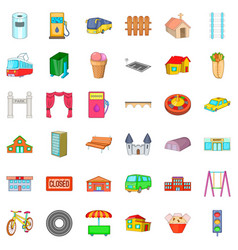 architecture icons set cartoon style vector image