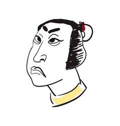 Asian man head hand drawn icon vector