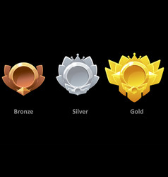 Awards medals gold silver and bronze for gui game vector