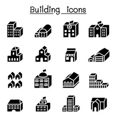 basic building in 3 dimension icon set vector image