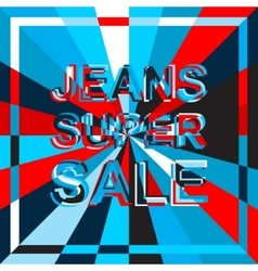 Big ice sale poster with JEANS SUPER SALE text vector