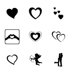 black love icons set vector image