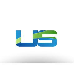 blue green us u s alphabet letter logo vector image vector image