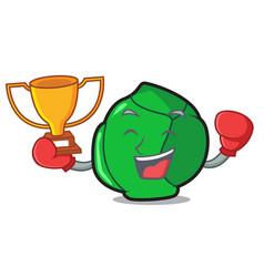 Boxing winner brussels mascot cartoon style vector