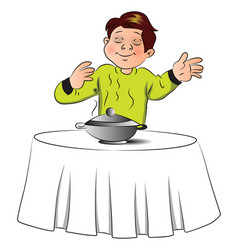 Boy smelling the food on table vector