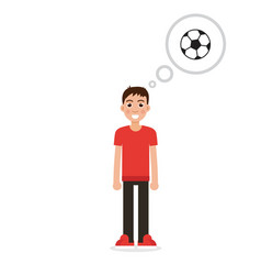 boy thinking about soccer character vector image