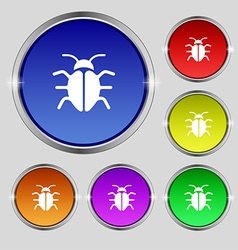 Bug Virus icon sign Round symbol on bright vector