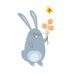 bunny with bouquet flowers and flying butterfly vector image