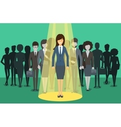 Businesswoman in spotlight Picking the right vector