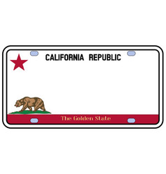 California license plate vector
