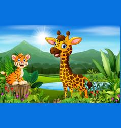 cartoon beautiful nature with tiger and giraffe vector image