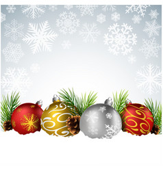 christmas balls with fir and pine cone on the snow vector image