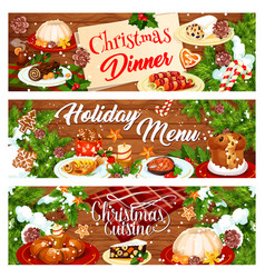 christmas menu banner with xmas dinner dishes vector image vector image